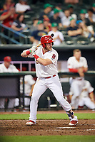 Memphis Redbirds third baseman Patrick Wisdom (5) at bat during a game against the Round Rock Express on April 28, 2017 at AutoZone Park in Memphis, Tennessee.  Memphis defeated Round Rock 9-1.  (Mike Janes/Four Seam Images)
