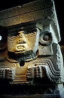 Stone sculpture of Chalchiutlicue, Goddess of water. Mexico City.