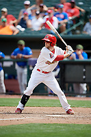 Memphis Redbirds second baseman Bruce Caldwell at bat during a game against the Iowa Cubs on May 29, 2017 at AutoZone Park in Memphis, Tennessee.  Memphis defeated Iowa 6-5.  (Mike Janes/Four Seam Images)