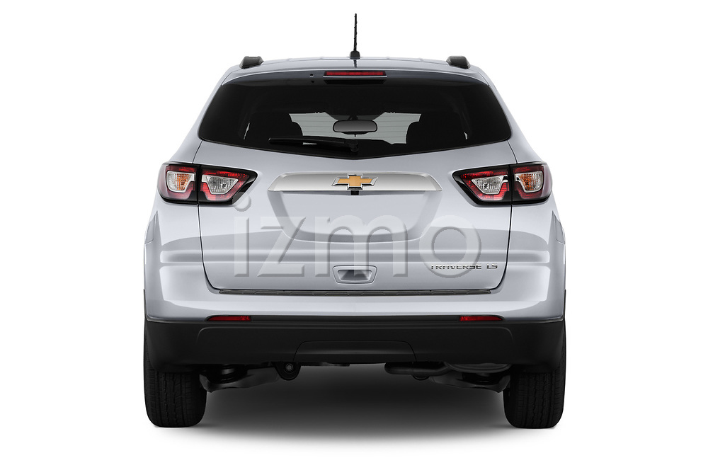 Straight rear view of 2017 Chevrolet Traverse LS-FWD 5 Door SUV Rear View  stock images