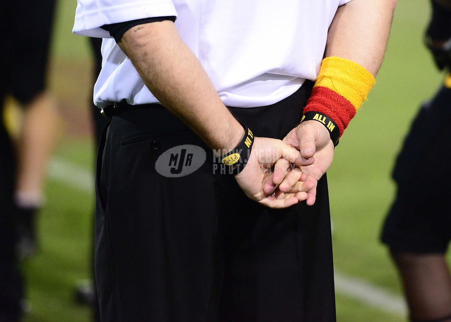 Oct. 18, 2012; Tempe, AZ, USA; Detailed view of the hands of Arizona State Sun Devils head coach Todd Graham in the second half against the Oregon Ducks at Sun Devil Stadium. Oregon defeated Arizona State 43-21. Mandatory Credit: Mark J. Rebilas-