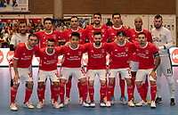 20191012 - HALLE: Benfica's team picture with Andre Sousa (GK), Jesus,  Fabio Cecilio, Andre Coelho, Fernando,Fits, Diego Roncaglio (GK), Fernandinho, Robinho, Rafael Henmi, Tiago Brito, Chaguinha , Bruno Coelho at the UEFA Futsal Champions League Main Round match between FP Halle-Gooik (BEL) and SL Benfica (POR) on 12th October 2019 at De Bres Sportcomplex, Halle, Belgium. PHOTO SPORTPIX | SEVIL OKTEM