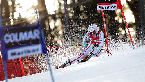 Tessa Worley of France skiing in first run of Women giant slalom race of Audi FIS alpine skiing World Cup in Maribor, Slovenia. Giant slalom race of Women Audi FIS Alpine skiing World Cup 2010-11, was held on Saturday, 15th of January 2011, in Maribor, Slovenia..
