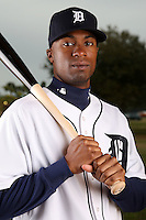 February 27, 2010:  Outfielder Austin Jackson (14) of the Detroit Tigers poses for a photo during media day at Joker Marchant Stadium in Lakeland, FL.  Photo By Mike Janes/Four Seam Images