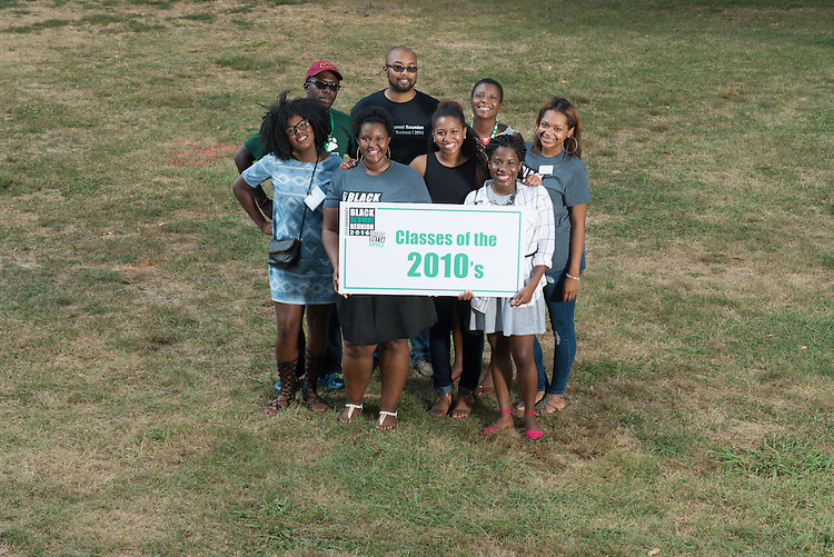 Ohio University graduates from the 2010s pose for a portrait during the 2016 Black Alumni Reunion's 'Through the Decades Cookout' at Tailgreat Park on Saturday, September 17, 2016.