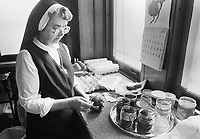 Sister Josaphat Slobodian dyes an egg while she does Ukrainian eggs, or pysanky, Tuesday, May 01, 1990 at Sisters of Saint Basil The Great motherhouse in Glenside, Pennsylvania. (Photo by William Thomas Cain/Cain Images)