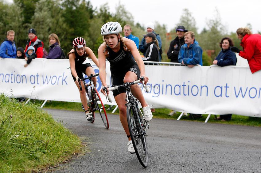 Photo: Richard Lane/Richard Lane Photography. GE Parc Bryn Bach Triathlon. 19/09/2010. IRC Youth Womens cycling.