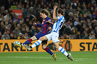 7th March 2020; Camp Nou, Barcelona, Catalonia, Spain; La Liga Football, Barcelona versus Real Sociedad;  Griezmann of Barca beats Le Normand of Real to get his shot towards goal