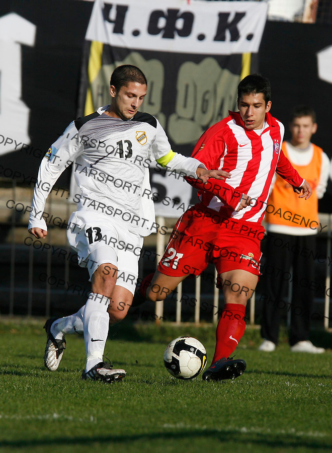 Drazen Okuka (13) Jevtic Aleksandar Sport Fudbal Soccer Crvena Zvezda Cukaricki Stankom Jelen Superliga 21.11.2009. (credit image photo: Pedja Milosavljevic 2009 / +381 64 1260 959 thepedja@gmail.com)