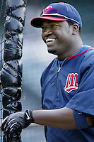 David Ortiz of the Minnesota Twins before a 2002 MLB season game against the Los Angeles Angels at Angel Stadium, in Anaheim, California. (Larry Goren/Four Seam Images)