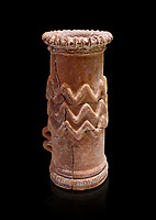 Minoan cylindrical cult vessel base used to support vessels full of offerings ,  1300-1100 BC,  Heraklion Archaeological  Museum , black background.<br /> <br /> These cylindrical cult vessels were used until the Postpalatial period in the shrines of the godesses wth upraised arms