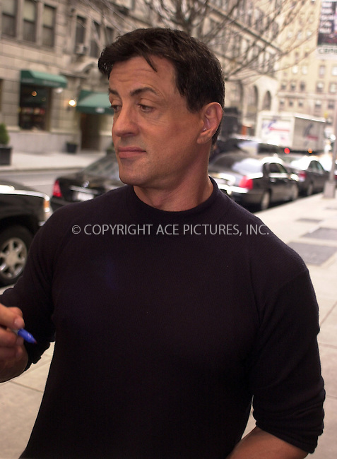 WWW.ACEPIXS.COM ** ** **EXCLUSIVE!!! FEE MUST BE NEGOTIATED BEFORE USE!!!....NEW YORK, MARCH 7, 2005....Sylvester Stallone takes a moment to sign autographs before entering his midtown hotel. Sly had just gotten back from an appearance on Live with Regis and Kelly.....Please byline: Philip Vaughan -- ACE PICTURES... *** ***  ..Ace Pictures, Inc:  ..Philip Vaughan (646) 769-0430..e-mail: info@acepixs.com..web: http://www.acepixs.com