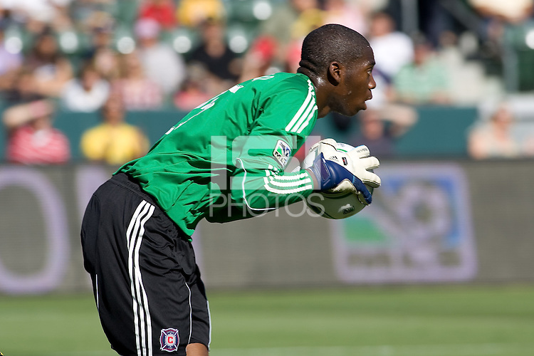 Chicago Fire goalkeeper Sean Johnson saves the ball. The Chicago Fire beat the LA Galaxy 3-2 at Home Depot Center stadium in Carson, California on Sunday August 1, 2010.
