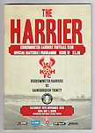 Match programme cover for Kidderminster Harriers versus Gainsborough Trinity in a National League North fixture. Harriers were formed in 1886 and have played at their current home since 1890. They won this match  by 3-0 watched by a crowd of 1465.