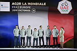 AG2R La Mondiale team on stage at the inaugural UAE Tour 2019 opening ceremony and team presentation held in the Louvre Abu Dhabi, United Arab Emirates. 23rd February 2019.<br /> Picture: LaPresse/Fabio Ferrari | Cyclefile<br /> <br /> <br /> All photos usage must carry mandatory copyright credit (© Cyclefile | LaPresse/Fabio Ferrari)