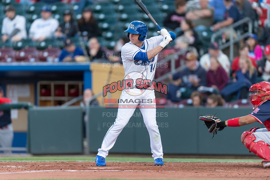 Omaha Storm right fielder Brett Phillips (14) during a Pacific Coast League game against the Memphis Redbirds on April 26, 2019 at Werner Park in Omaha, Nebraska. Memphis defeated Omaha 7-3. (Zachary Lucy/Four Seam Images)
