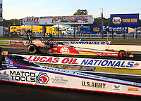 Aug 15, 2014; Brainerd, MN, USA; NHRA top fuel driver Doug Kalitta during qualifying for the Lucas Oil Nationals at Brainerd International Raceway. Mandatory Credit: Mark J. Rebilas-USA TODAY Sports