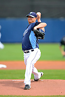 Tampa Bay Rays pitcher Alex Cobb #53 delivers a warmup pitch during a Grapefruit League Spring Training game against the Boston Red Sox at Charlotte County Sports Park on February 25, 2013 in Port Charlotte, Florida.  Tampa Bay defeated Boston 6-3.  (Mike Janes/Four Seam Images)