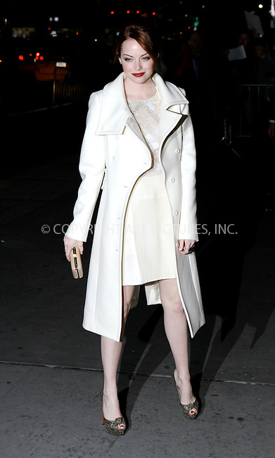 WWW.ACEPIXS.COM . . . . .  ....January 10 2012, New York City....Actress Emma Stone arriving at the 2011 National Board of Review Awards gala at Cipriani 42nd Street on January 10, 2012 in New York City.....Please byline: NANCY RIVERA- ACE PICTURES.... *** ***..Ace Pictures, Inc:  ..tel: (212) 243 8787 or (646) 769 0430..e-mail: info@acepixs.com..web: http://www.acepixs.com