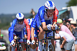 Groupama-FDJ in action during Stage 3 of the 2018 Tour de France a Team Time Trial running 35.5km from Cholet to Cholet (35,5km, France. 9th July 2018. <br /> Picture: ASO/Pauline Ballet | Cyclefile<br /> All photos usage must carry mandatory copyright credit (&copy; Cyclefile | ASO/Pauline Ballet)