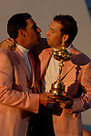 Spanish team members Jose Maria Olazabal and Sergio Garcia, part of the victorious European Team, hold the Ryder Cup during the closing ceremony of the 2006 Ryder Cup at The K Club..Photo: Eoin Clarke/Newsfile.
