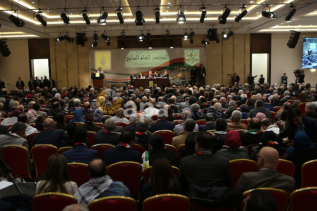 Palestinians attend the opening ceremony of the 7th Fatah Congress on November 29, 2016, at the Muqataa, the Palestinian Authority headquarters, in the West Bank city of Ramallah. Abbas's Fatah re-elected him party head as the movement opened its first congress since 2009 with talk mounting of who will eventually succeed the 81-year-old. Photo by Shadi Hatem