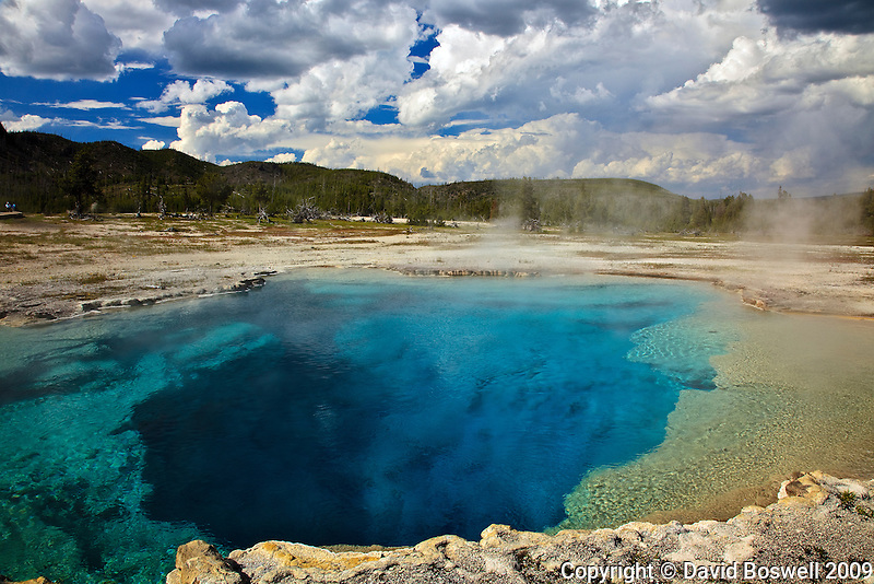 It's easy to see where Sapphire Pool, in the Biscuit Basin of Yellowstone National Park, gets it's name.