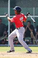 Boston Red Sox minor league player Kenneth Roque #3 during a spring training game vs the Baltimore Orioles at the Buck O'Neil Complex in Sarasota, Florida;  March 22, 2011.  Photo By Mike Janes/Four Seam Images