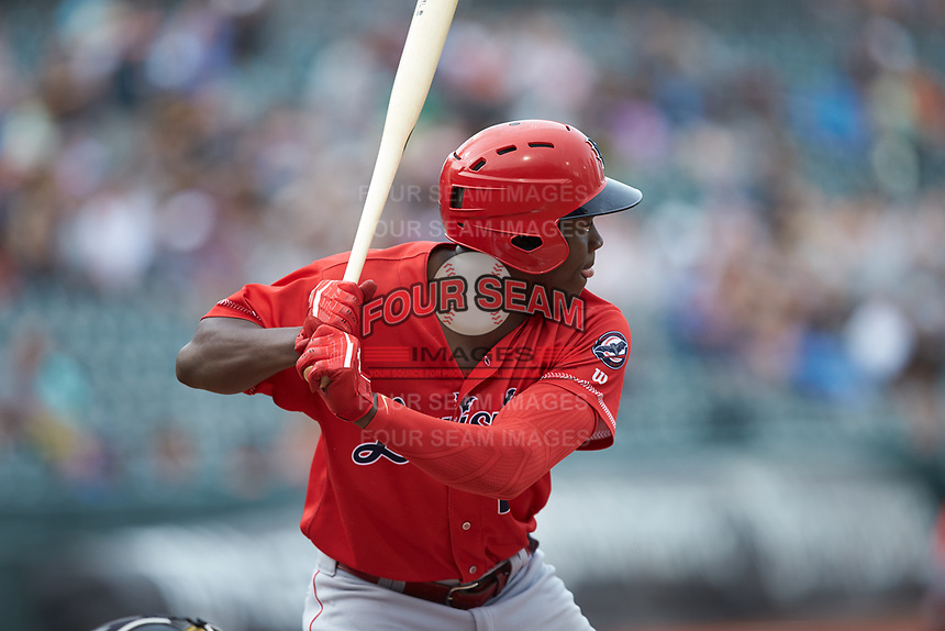 Aristides Aquino (27) of the Louisville Bats at bat against the Charlotte Hornets at BB&T BallPark on June 22, 2019 in Charlotte, North Carolina. The Hornets defeated the Bats 7-6. (Brian Westerholt/Four Seam Images)
