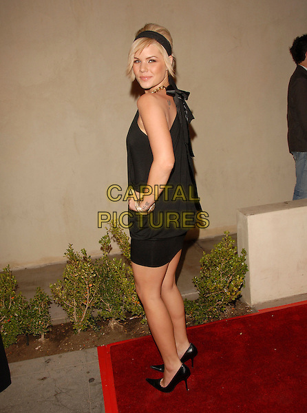 KIMBERLY CALDWELL.attends The 2 B Free Fashion Show held at Boulevard3  in Hollywood, LA, California, USA, March 19 2007..full length black hairband hair band dress looking back over shoulder.CAP/DVS.©Debbie VanStory/Capital Pictures