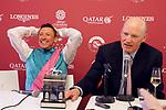 October 07, 2018, Longchamp, FRANCE - Frankie Dettori and John Gosden at the Press Conference after winning the Qatar Prix de l'Arc de Triomphe (Gr. I) at  ParisLongchamp Race Course  [Copyright (c) Sandra Scherning/Eclipse Sportswire)]