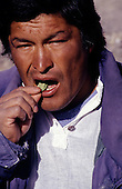 Cusco, Peru. Man chewing coca leaf.