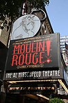 "Theatre Marquee for ""Moulin Rouge!"" The Broadway Musical at the Al Hirschfeld Theatre on July 9, 2019 in New York City."