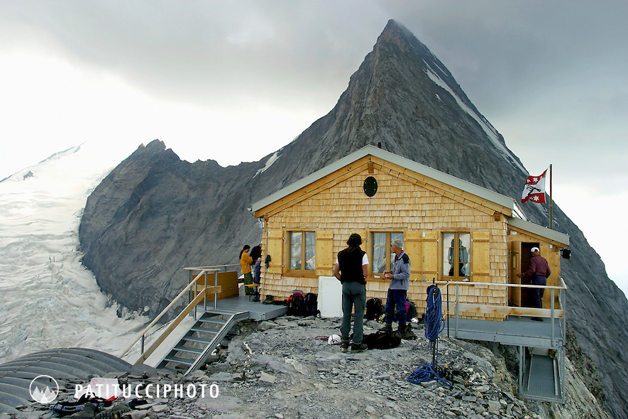 The Mittellegi Hut on the Eiger. Bernese Alps, Switzerland