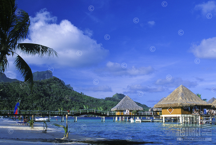 Water front beach bungalows in Bora Bora, Tahiti