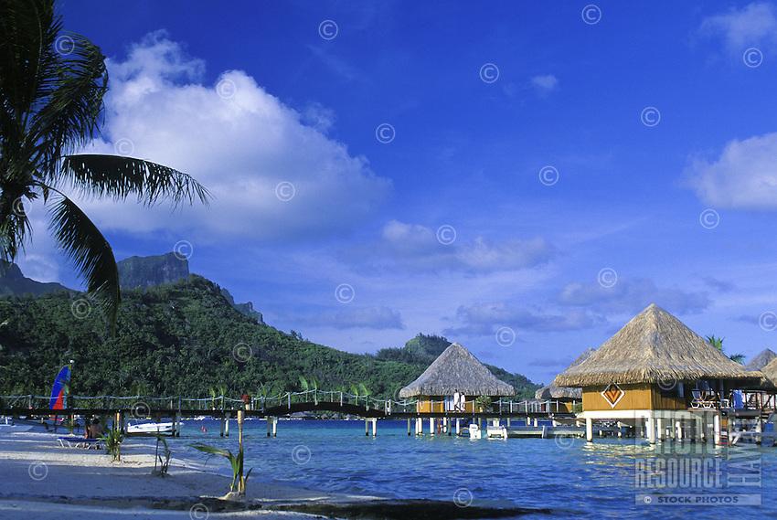 Water front beach bungalows in Bora Bora, Tahiti