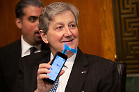 United States Senator John Kennedy (Republican of Louisiana) shows off a phone-fan prior to the testimony of Acting Secretary of the United States Department of Homeland Security Kevin McAleenan before the U.S. Senate Judiciary Committee on Capitol Hill in Washington D.C., U.S. on June 11, 2019. Photo Credit: Stefani Reynolds/CNP/AdMedia