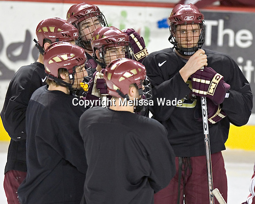 Mike Brennan, Peter Harrold, Anthony Aiello, Brett Motherwell, Justin Greene, Tim Filangieri - Boston College's morning skate on Friday, December 30, 2005 at Magness Arena in Denver, Colorado.  Boston College defeated Ferris State that afternoon in a shootout and defeated Princeton the following night to win the Denver Cup.