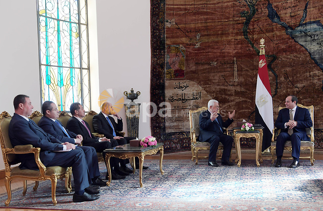 Palestinian president Mahmoud Abbas meets with Egyptian counterpart Abdel Fattah El-Sisi in the Egyptian capital Cairo on January 05, 2019. Photo by Thaer Ganaim