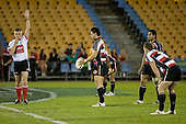 AReferee Vinny Munro whistles the start of the second half.  Air New Zealand Cup rugby game between Counties Manukau Steelers & Wellington played at Mt Smart Stadium on the 31st August 2007. The Score was 13 all at halftime, with Wellington going on to win 33 - 18.