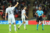 13th September 2017, Wembley Stadium, London, England; Champions League Group stage, Tottenham Hotspur versus Borussia Dortmund; Jan Vertonghen of Tottenham Hotspur questions the referees decision before leaving the field of play