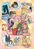 Interlitho, Nino, TEENAGERS, paintings, 3 shopping girls(KL3963,#J#) Jugendliche, jóvenes, illustrations, pinturas ,everyday