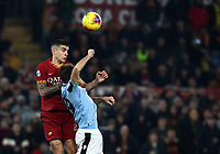 Football, Serie A: AS Roma - S.S. Lazio, Olympic stadium, Rome, January 26, 2020. <br /> Roma's Gianluca Mancini (l) in action witht Lazio's Senad Lulic (r) during the Italian Serie A football match between Roma and Lazio at Olympic stadium in Rome, on January,  26, 2020. <br /> UPDATE IMAGES PRESS/Isabella Bonotto