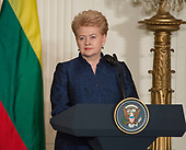 President Dalia Grybauskaite of Lithuania responds to a reporter's question at a Joint Press Conference hosted by United States President Donald J. Trump with the other Baltic States Heads of Government, President Raimonds Vejonis of Latvia, and President Kersti Kaljulaid of Estonia in the East Room of the White House in Washington, DC on Tuesday, April 3, 2018.<br /> Credit: Ron Sachs / CNP