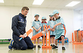 This image is free to use - A brand new coaching programme aims to turn cricket into one of Scotland's mainstream sports. Launched this week, All Stars Cricket aims to inspire five to eight year old children to take up the sport through a fun first experience of the game. The Cricket Scotland eight week programme begins in May and will see participating boys and girls develop their skills and make new friends in a safe and inclusive environment at one of the 50+ Scottish cricket clubs who have signed up to host and run the sessions. Registration is open from today with each child receiving a pack of cricket goodies including a cricket bat, ball, backpack, water bottle, personalised shirt and cap to keep so that they can continue their love of cricket when they go home. There will also be a chance for youngsters to meet current Scotland international players as part of All Stars Cricket, which will be led by fully trained and vetted activators at each club - picture shows some young fun cricketers at Mary Erskine School, Edinburgh taking some guidance from Scotland International George Munsey - Cameron Grant hits out in front of Primary 1 classmates (l to r) Max Bryce, Tara Raffan and Jessica Scholes — for further information please contact Ben Fox, Media Manager, Cricket Scotland on 07825 172 348 or at benfox@cricketscotland.com - - picture by Donald MacLeod - 20.03.2017 - 07702 319 738 - clanmacleod@btinternet.com - www.donald-macleod.com