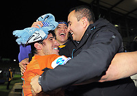 Tomas Lavanini celebrates with fans after the Super Rugby match between the Chiefs and Jaguares at Rotorua International Stadum in Rotorua, New Zealand on Friday, 4 May 2018. Photo: Dave Lintott / lintottphoto.co.nz