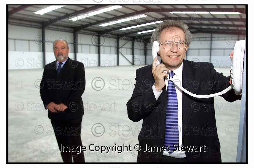 7th June 2000            Copyright Pic : James Stewart .Ref :                           .File Name : stewart06-tsc call centre                        .HENRY MCLEISH AND LENNIUW MOFFAT (left), MANAGING DIRECTOR OF TSC, AT THE LAUNCH OF THE NEW CALL CENTRE IN FALKIRK.....Payments to :-.James Stewart Photo Agency, Stewart House, Stewart Road, Falkirk. FK2 7AS      Vat Reg No. 607 6932 25.Office : 01324 630007        Mobile : 0421 416997.E-mail : jim@jspa.co.uk.           : jim@jamesstewart.co.uk.If you require further information then contact Jim Stewart on any of the numbers above.........