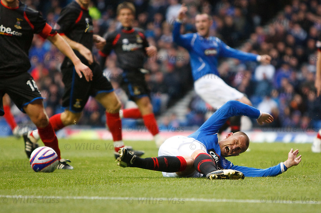 Kenny Miller sent flying by David Proctor for penalty