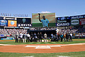 Mariano Rivera (Yankees),<br /> SEPTEMBER 22, 2013 - MLB :<br /> Mariano Rivera of the New York Yankees is seen on the screen as he tips his cap to fans during his retirement ceremony before the Major League Baseball game against the San Francisco Giants at Yankee Stadium in The Bronx, New York, United States. (Photo by Thomas Anderson/AFLO) (JAPANESE NEWSPAPER OUT)