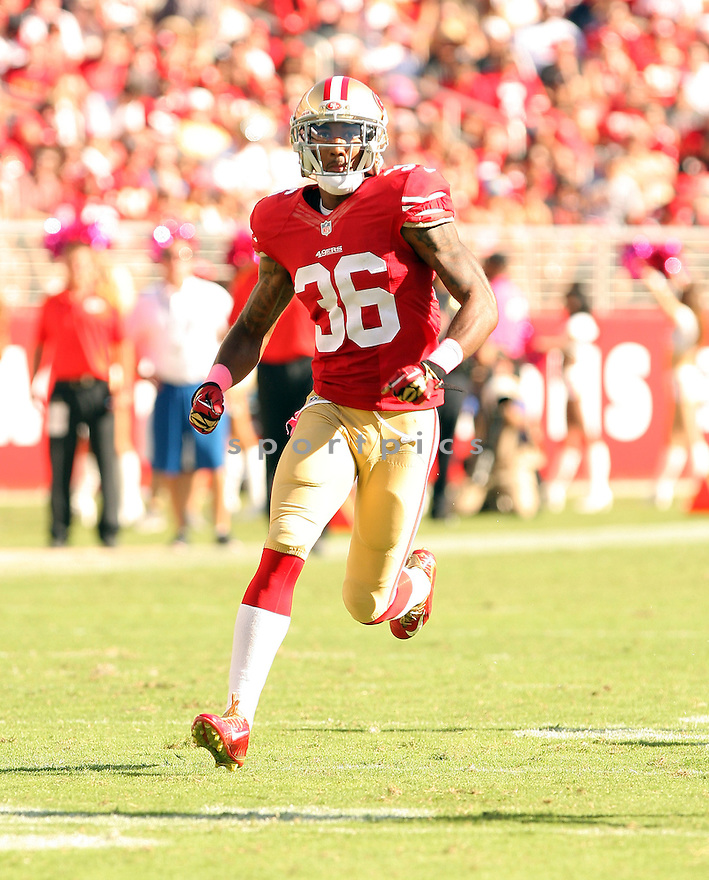 San Francisco 49ers Dontae Johnson (36) during a game against the Kansas City Chiefs on October 5, 2014 at Levi's Stadium in Santa Clara, CA. the 49ers beat the Chiefs 22-17.